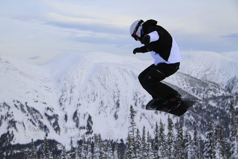 A snowboarder Isabel Clark durante treino antes as Olimpíadas de Inverno de Pyeongchang