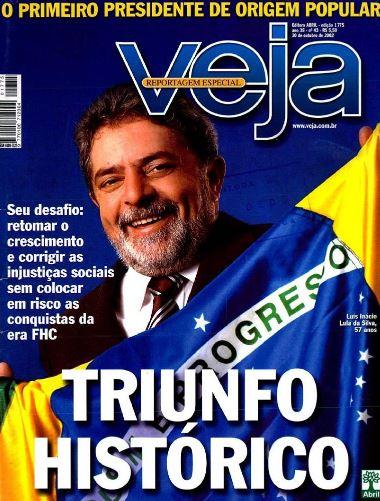 Após consecutivas derrotas, Lula vence o tucano José Serra e é eleito o presidente da República com 61,3% dos votos, em 2002.