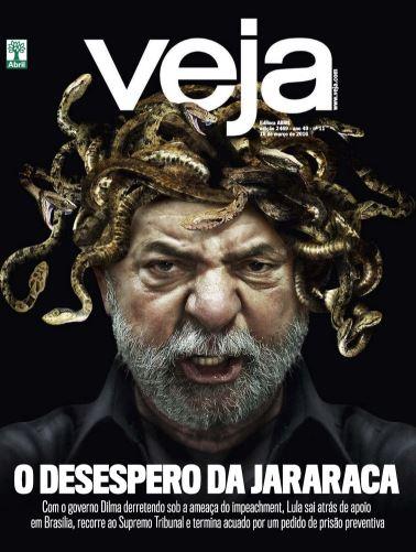 VEJA de 16 de março de 2016 estampou o rosto do ex-presidente Lula.Anos após o triunfo dos dois mandatos como presidente do país, Lula enfrentou, em 2015, o começo de um período sombrio decorrente da Operação Lava Jato, deflagrada em 2014 pela Polícia Federal (PF) para investigar um esquema de lavagem e desvio de dinheiro na Petrobras, envolvendo políticos e empresários.Com a ameaça da Lava Jato, e a impopularidade de sua sucessora, Dilma Rousseff, Lula busca apoio na base aliada e se passa a fazer discursos para declarar sua inocência e uma suposta perseguição da PF, do Ministério Público e da Justiça. Sobre Lula, pesam as acusações de corrupção, tráfico de influência e lavagem de dinheiro. No mesmo ano, assiste à ruína de Dilma: Alvo de um pedido de Impeachment, sua impopularidade cresce junto às manifestações populares pedindo sua destituição. Em agosto de 2016, perde o mandato e é substituída por seu vice, Michel Temer (MDB).