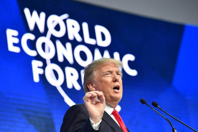 Donald Trump discursa em Davos, na Suíça