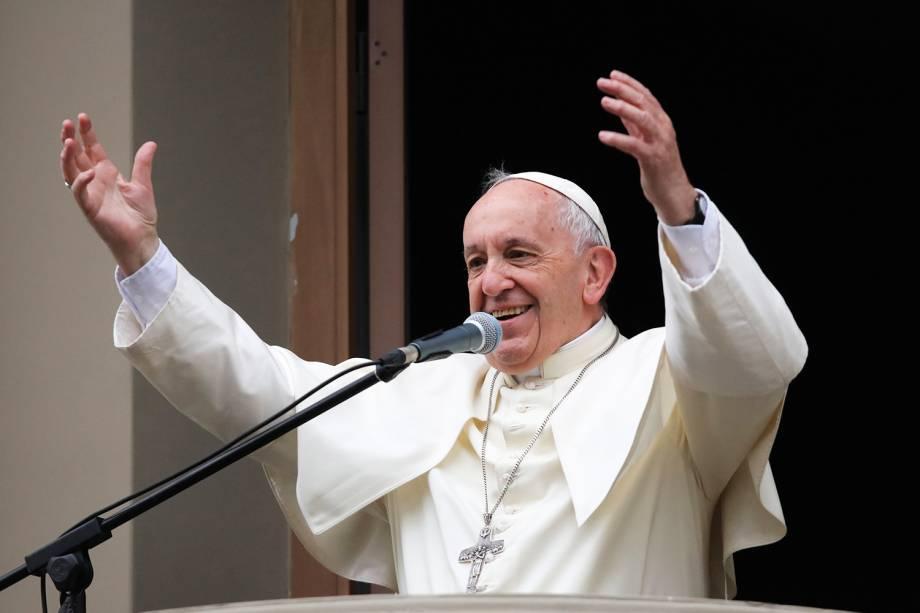 Papa Francisco discursa para multidão próximo de nunciatura, em Lima, no Peru - 20/01/2018