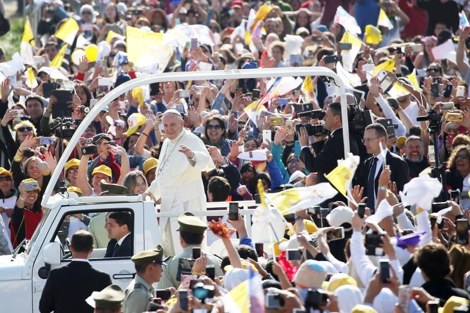 Papa Francisco chega para celebrar uma missa no Parque O'Higgins em Santiago no Chile - 16/01/2018