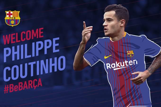 Philippe Coutinho é anunciado como novo reforço do Barcelona