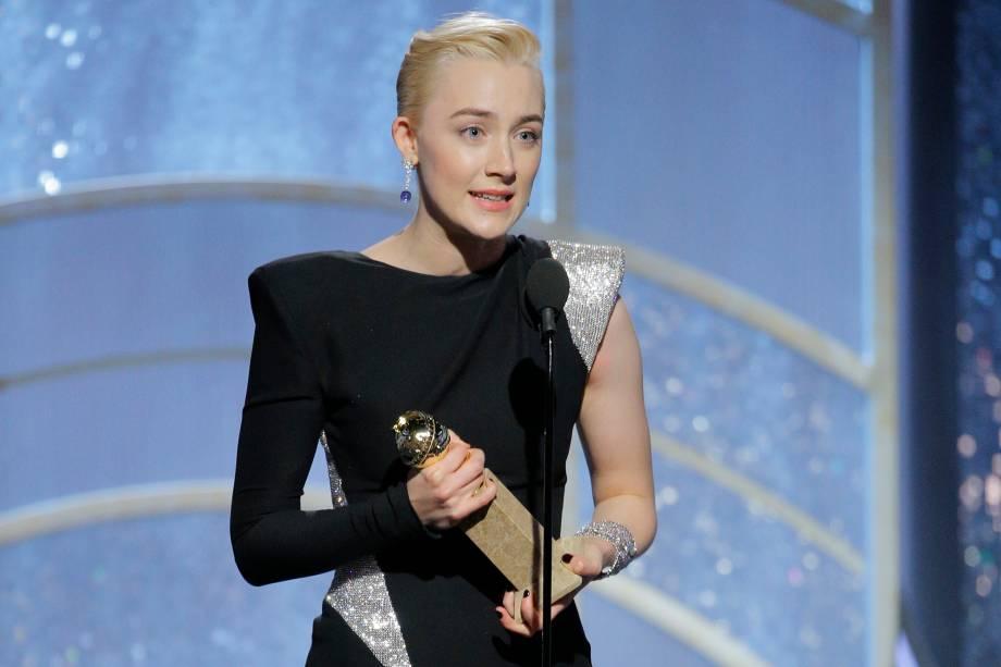 """Saoirse Ronan recebe o prêmio de Melhor Atriz em um musical ou comédia pelo filme """"Lady Bird: É Hora de Voar"""" - 07/01/2018"""