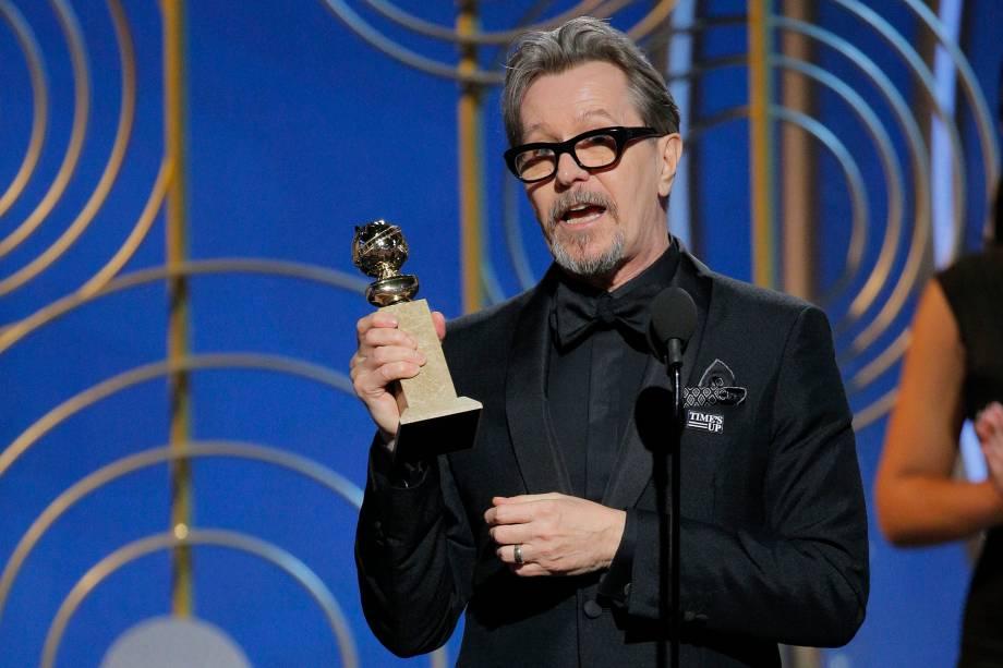 """Gary Oldman recebe o prêmio de melhor ator em um filme dramático pela sua atuação em """"O Destino de uma Nação"""" - 07/01/2018"""