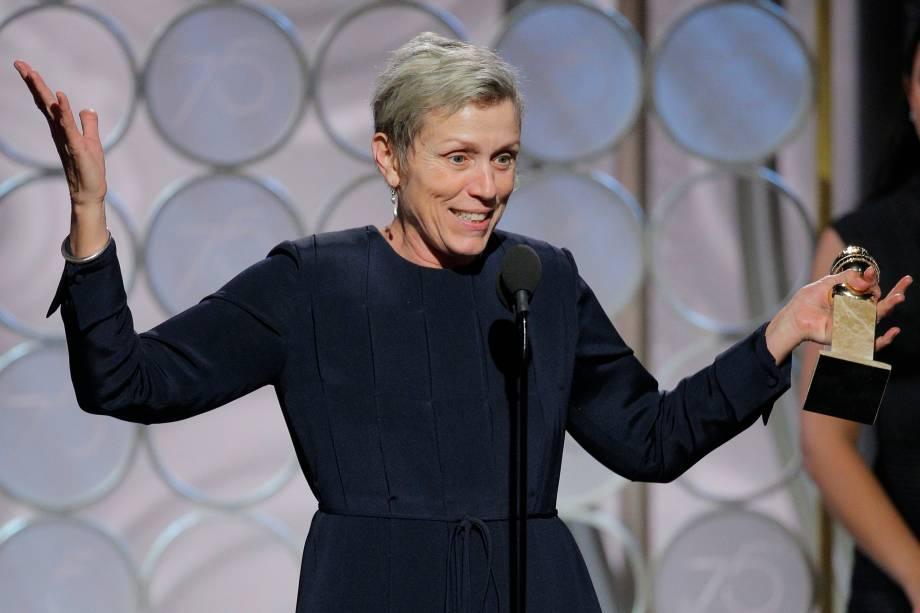 """Frances McDormand recebe o prêmio de melhor atriz em um filme dramático pela sua atuação em """"Três Anúncios para um Crime"""" - 07/01/2018"""