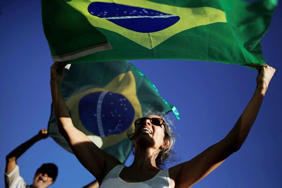Manifestante protesta contra o ex-presidente Lula, em Brasília - 23/01/2018