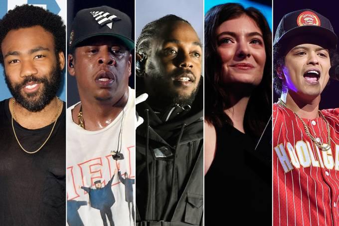 Childish Gambino, Jay-z, Kendrick Lamar, Lorde e Bruno Mars