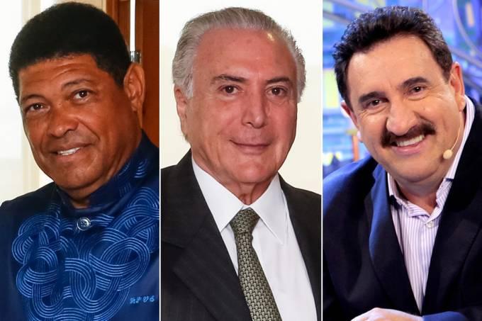 O pastor Valdemiro Santiago, Presidente Michel Temer e apresentador Ratinho