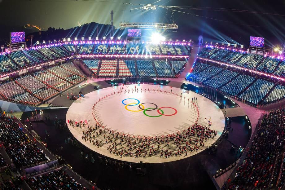 Vista aérea da abertura dos jogos Olímpicos de Inverno em Pyeongchang, na Coreia do Sul - 09/02/2018