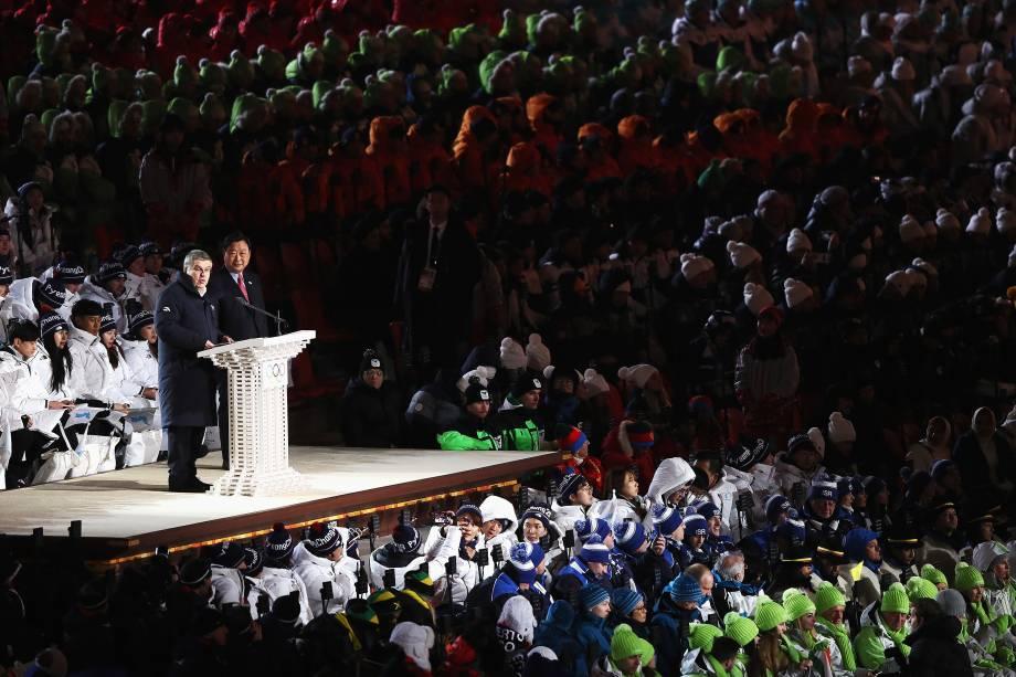 O presidente do COI, Thomas Bach, discursa durante a cerimônia de abertura dos Jogos Olímpicos de Inverno PyeongChang 2018 no Estádio Olímpico de PyeongChang - 09/02/2018