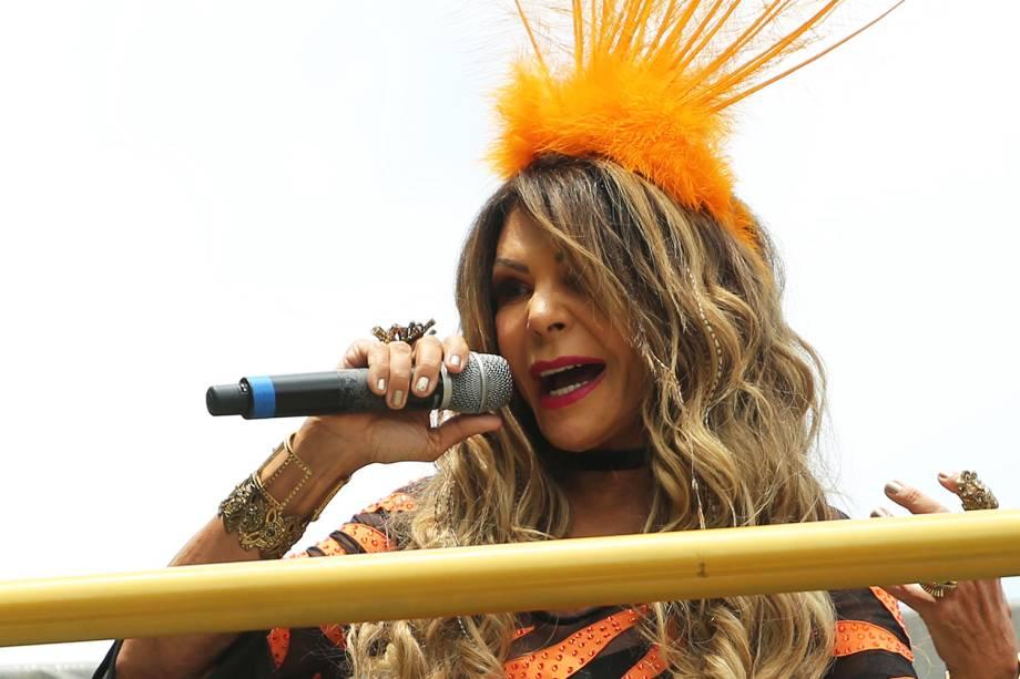 A cantora Elba Ramalho agita foliões no Bloco Frevo Mulher , na região do Parque do Ibirapuera, em São Paulo (SP) - 03/02/2018