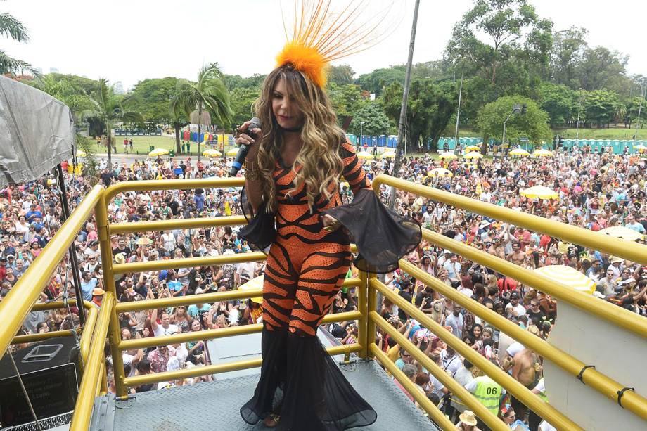 A cantora Elba Ramalho comanda o Bloco Frevo Mulher, no Parque do Ibirapuera, em São Paulo (SP) - 03/02/2018