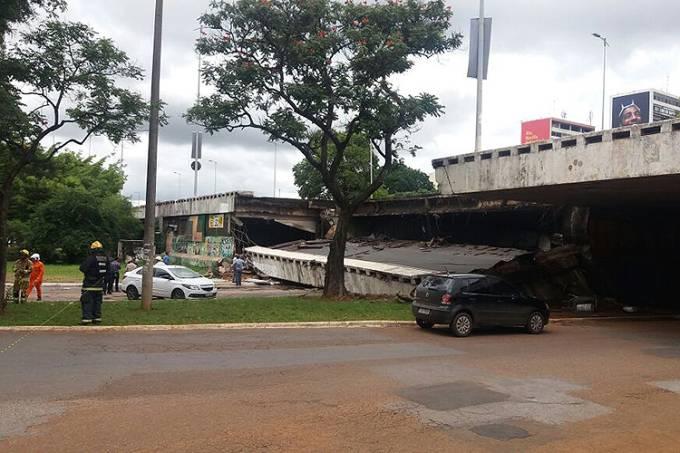 Parte do Viaduto Eixão Sul desaba em Brasília