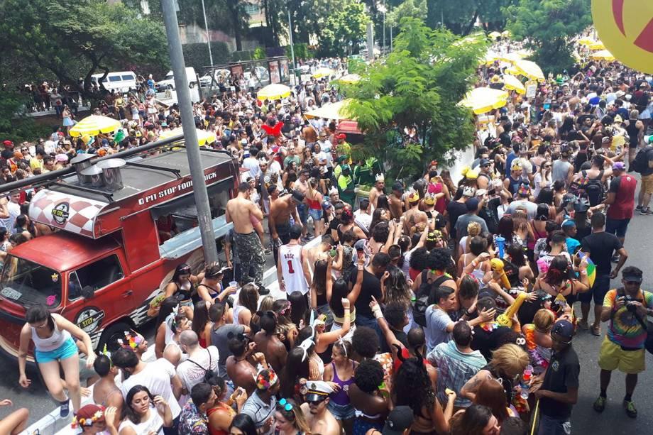 Multidão de foliões durante desfile do bloco Domingo Ela Não Vai, na Avenida 23 de Maio, em São Paulo - 11/02/2018