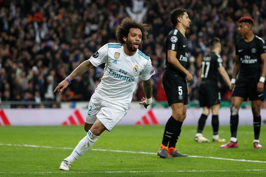 Marcelo comemora após marcar o terceiro gol do Real Madrid contra o PSG