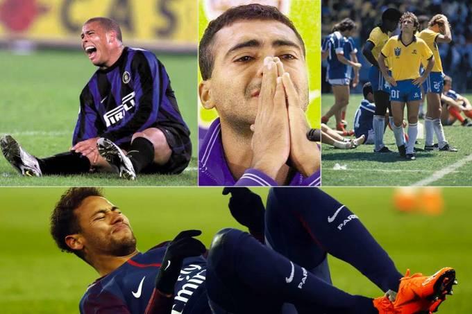 Ronaldo, Romário, Zico e Neymar machucados antes da Copa do Mundo