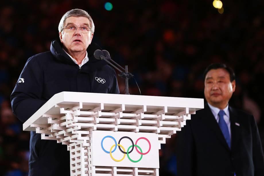 Thomas Bach, presidente do COI (Comitê Olímpico Internacional), realiza discurso durante a cerimônia de encerramento dos Jogos Olímpicos de Inverno, em Pyeongchang, na Coreia do Sul - 25/02/2018