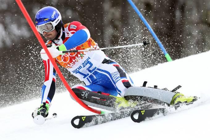 Prova de esqui alpino durante as Olimpíadas de Sochi, em 2014