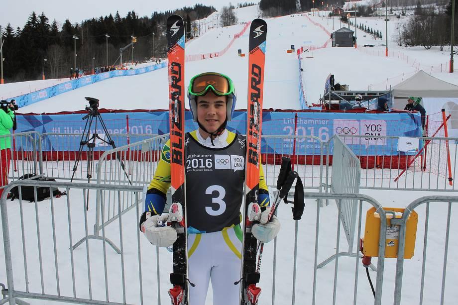 Michel Macedo, representante brasileiro na modalidade esqui alpino durante a Olimpíada de Inverno de PyeongChang, na Coreia do Sul