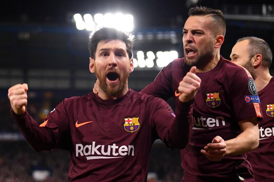 Messi comemora após marcar contra o Chelsea, pela Liga dos Campeões, em Londres