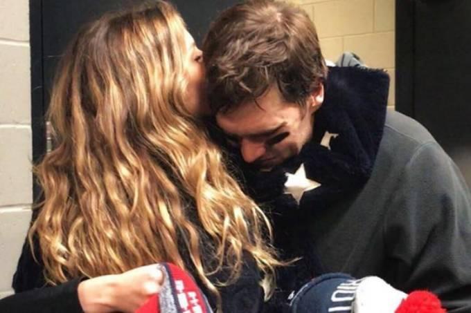 Gisele Bündchen abraçou o marido Tom Brady após derrota no Super Bowl 52