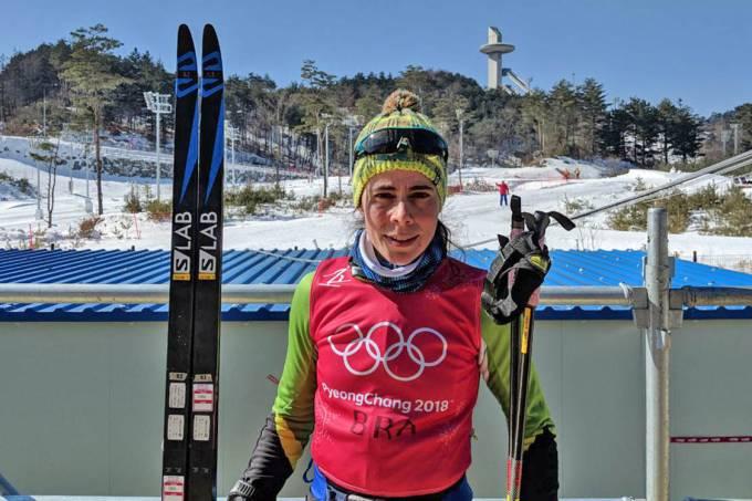 Jaqueline Mourão, atleta do esqui cross-country, durante treino antes da abertura dos Jogos Olímpicos de Inverno de PyeongChang