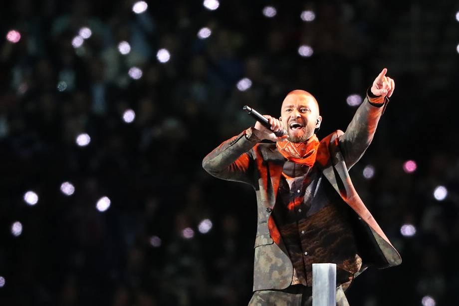 Justin Timberlake durante show do intervalo do Super Bowl 2018