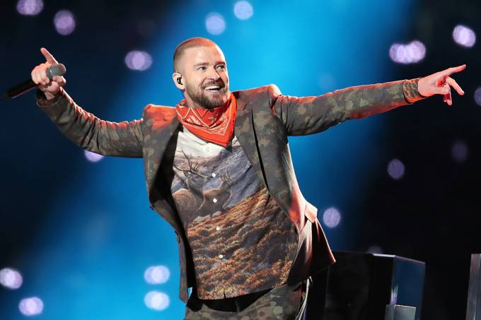 Justin Timberlake durante show do intervalo do Super Bowl 2018 – 4/2/2018