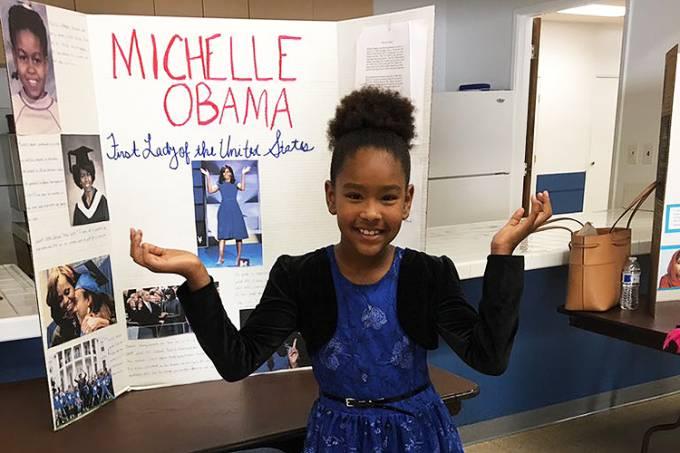 Garota se veste como Michelle Obama e recebe nota A+ no Twitter