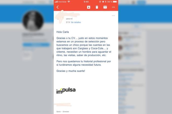 Mensagem no Twitter publicada pela publicitária espanhola