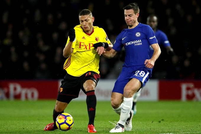 Richarlison, do Watford, durante partida contra o Chelsea