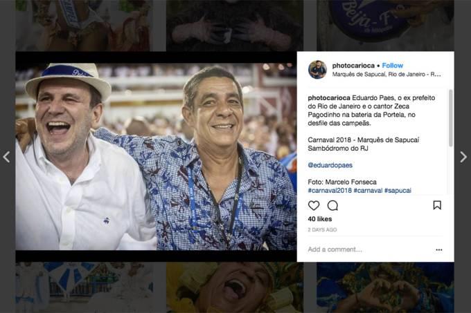 O ex-prefeito do Rio Eduardo Paes e o cantor Zeca Pagodinho