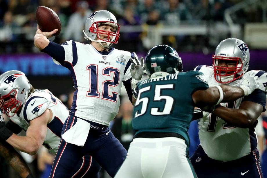 Tom Brady, do New England Patriots, durante partida contra o Philadelphia Eagles