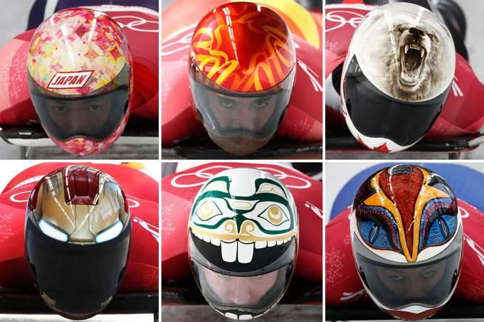 Capacetes dos competidores de Skeleton, nos Jogos Olímpicos de Pyeongchang