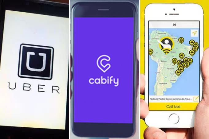 Aplicativos de transporte: Uber, Cabify e 99 Taxi