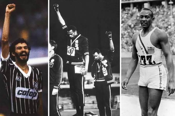 Sócrates comemora gol pelo Corinthians em 1983, Os atletas americanos Tommie Smith e John Carlos nas Olimpíadas do México de 1698, e Jesse Owens nos Jogos de 1936