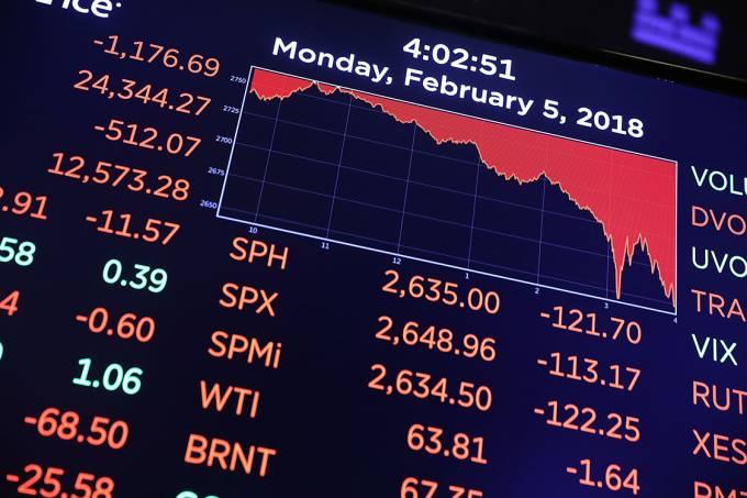 Gráfico mostra queda na Bolsa de Nova York  – 05/02/2018