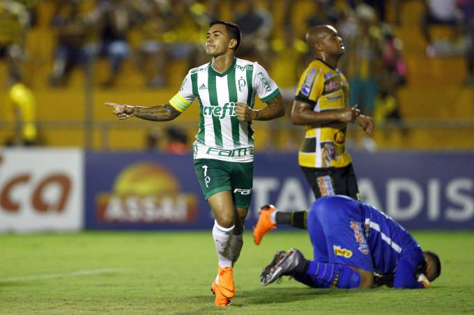 Dudu, do Palmeiras, comemora seu gol