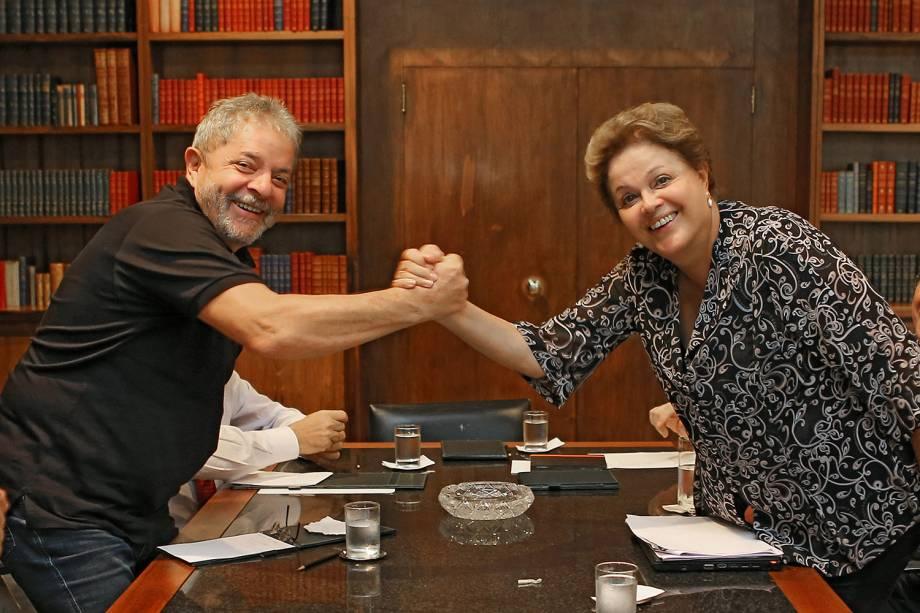 O ex-presidente, em reunião com sua sucessora, Dilma Rousseff, em 2014.