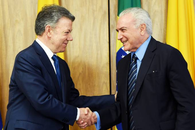 Michel Temer e Juan Manuel Santos