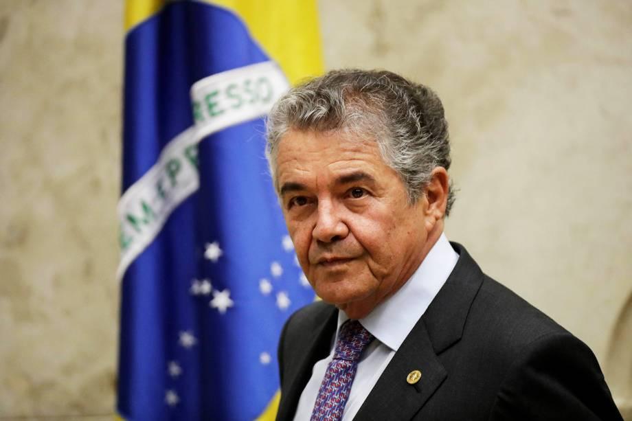 O ministro do STF,  Marco Aurélio Mello, durante sessão que julga o habeas corpus preventivo do ex-presidente Lula - 22/03/2018