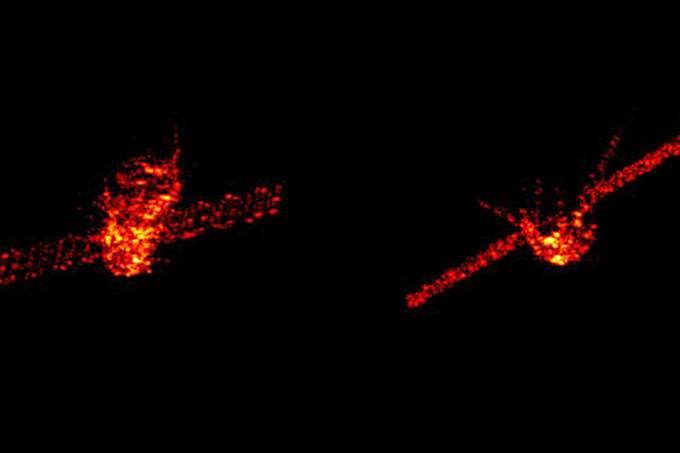Montagem de duas imagens da estação espacial chinesa Tiangong-1, que pode cair na Terra nos próximos dias – 29/03/2018