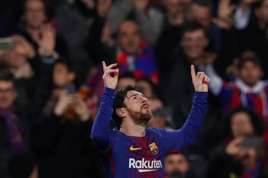 Lionel Messi, jogador do Barcelona, comemora seu primeiro gol contra o time inglês Chelsea - 14/03/2018