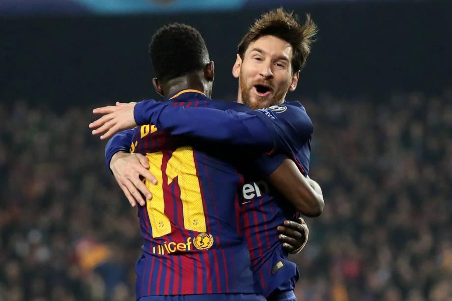 Ousmane Dembele, jogador do Barcelona, faz segundo gol e comemora com Lionel Messi - 14/03/2018