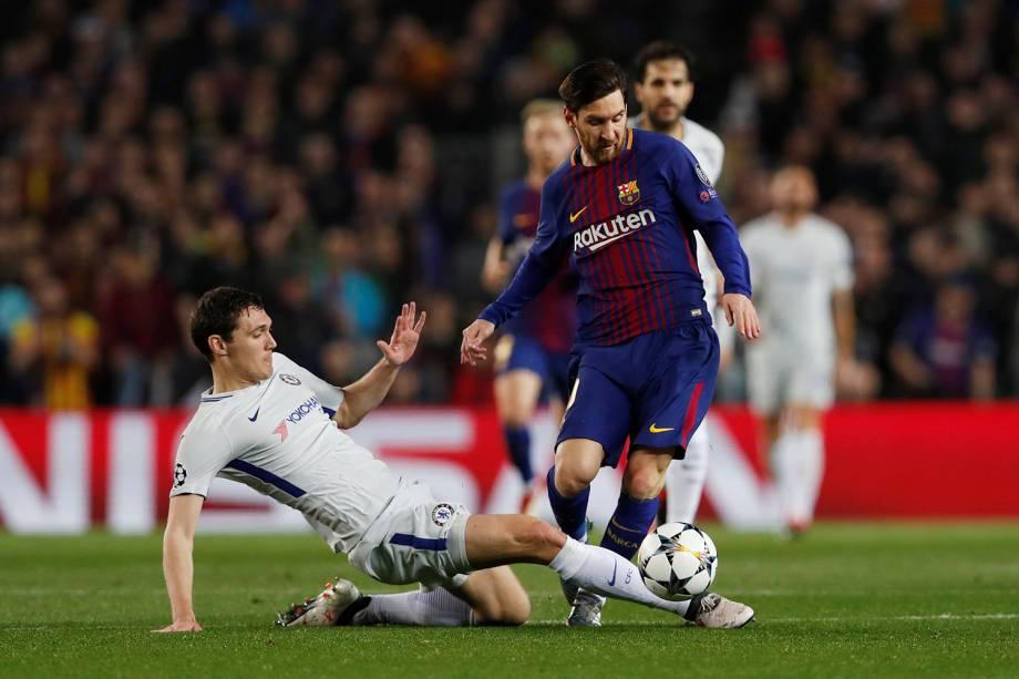 Lionel Messi, jogador do Barcelona, em ação, pouco antes de Ousmane Dembele marcar o segundo gol - 14/03/2018