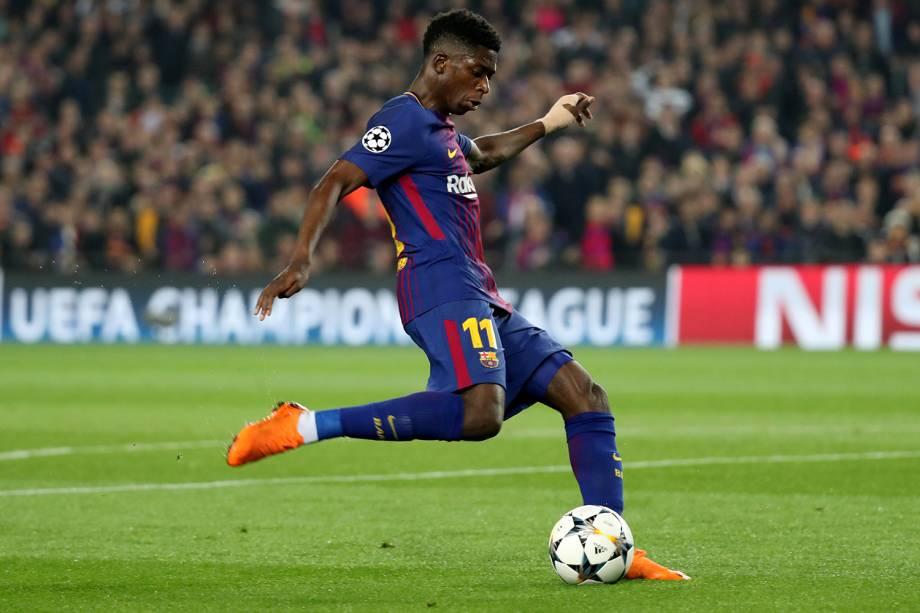 Ousmane Dembele, jogador do Barcelona, faz segundo gol do jogo contra o time inglês Chelsea - 14/03/2018