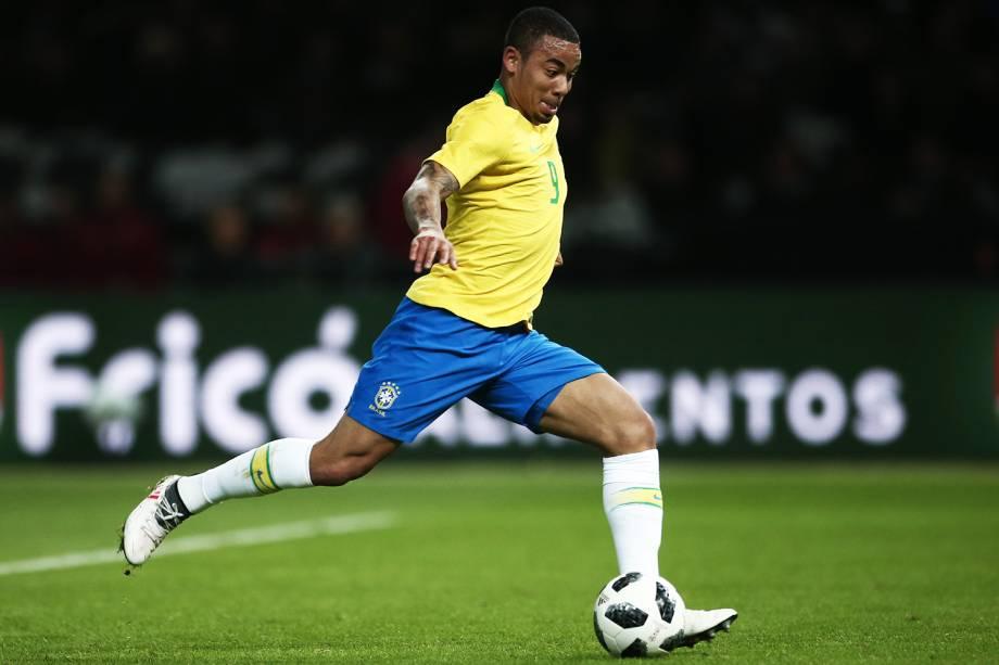 Gabriel Jesus durante partida amistosa entre Brasil e Alemanha, realizada no Estádio Olímpico de Berlim - 27/03/2018