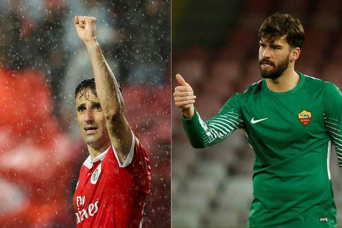 Jonas, do Benfica, e Alisson, da Roma