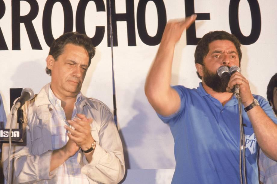 Em 1983, ainda durante o período militar, Lula e Fernando Henrique Cardoso participam de comício do Partido dos Trabalhadores em apoio às eleições diretas para presidente.